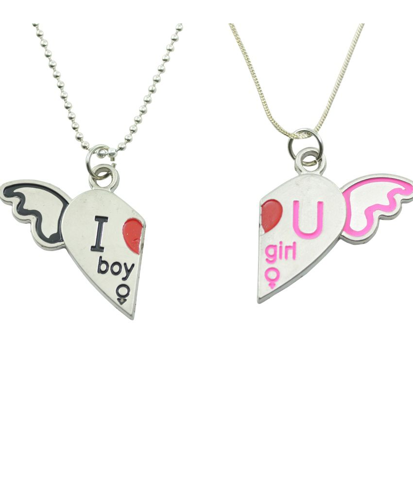 Alpha Man Couple Pendent Set With Chains