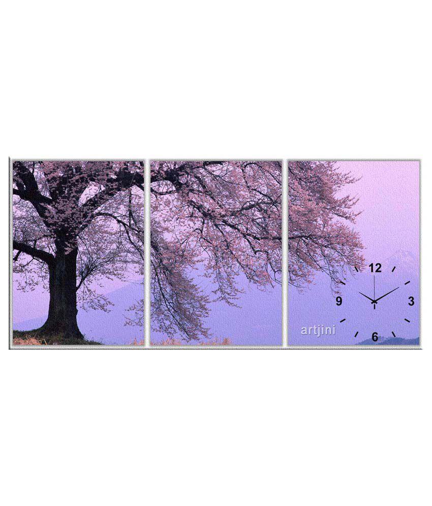 Artjini Purple Three Panel Canvas Wall Clock: Buy Artjini