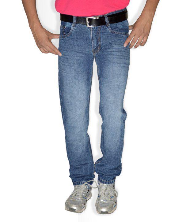 Focker Trendy Blue 100% Cotton Fabric Slim Fit Five Pocket Jeans