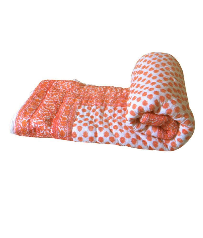 Mesleep White Amp Orange Ethnic Cotton Quilt Buy Mesleep