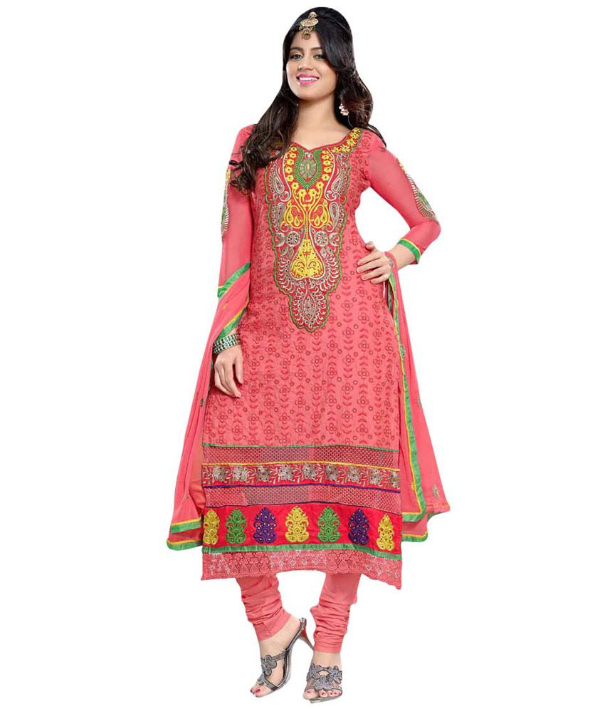 Peach Color Embroidered Dress Material With Nazneen Dupatta And Cotton Bottom Hand Work