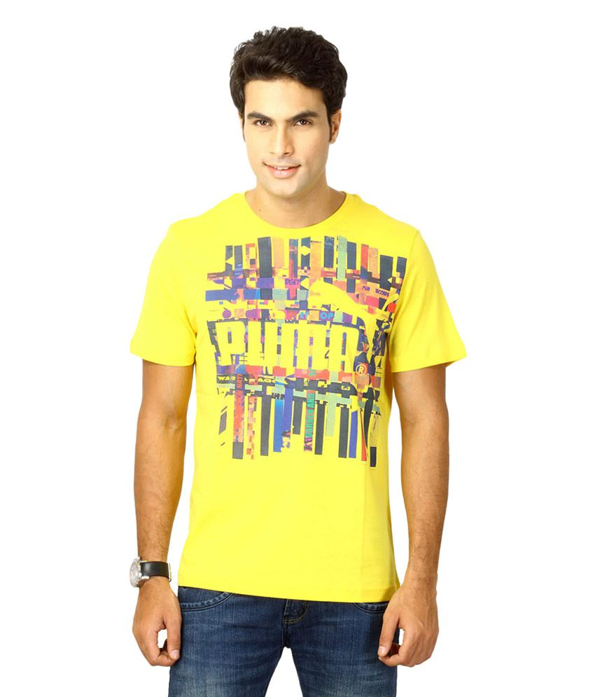 Puma Yellow Cotton T-shirt