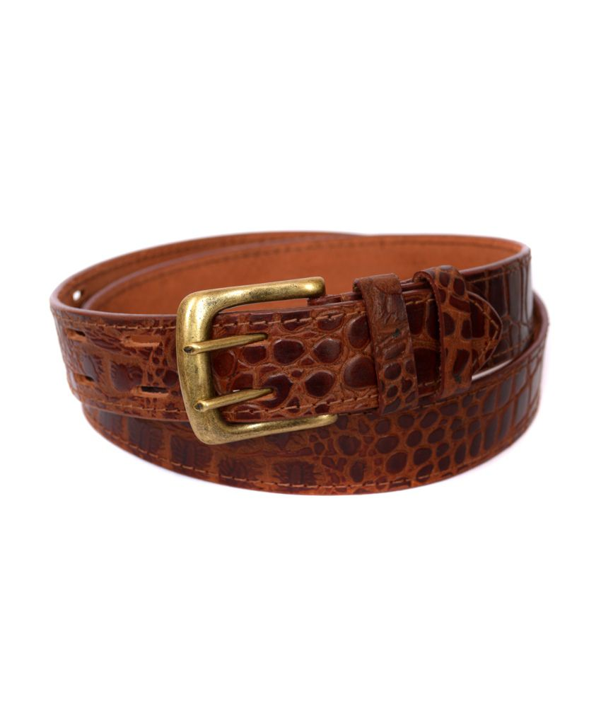 Deco Genuine Leather Designer Crocodile Print Belt