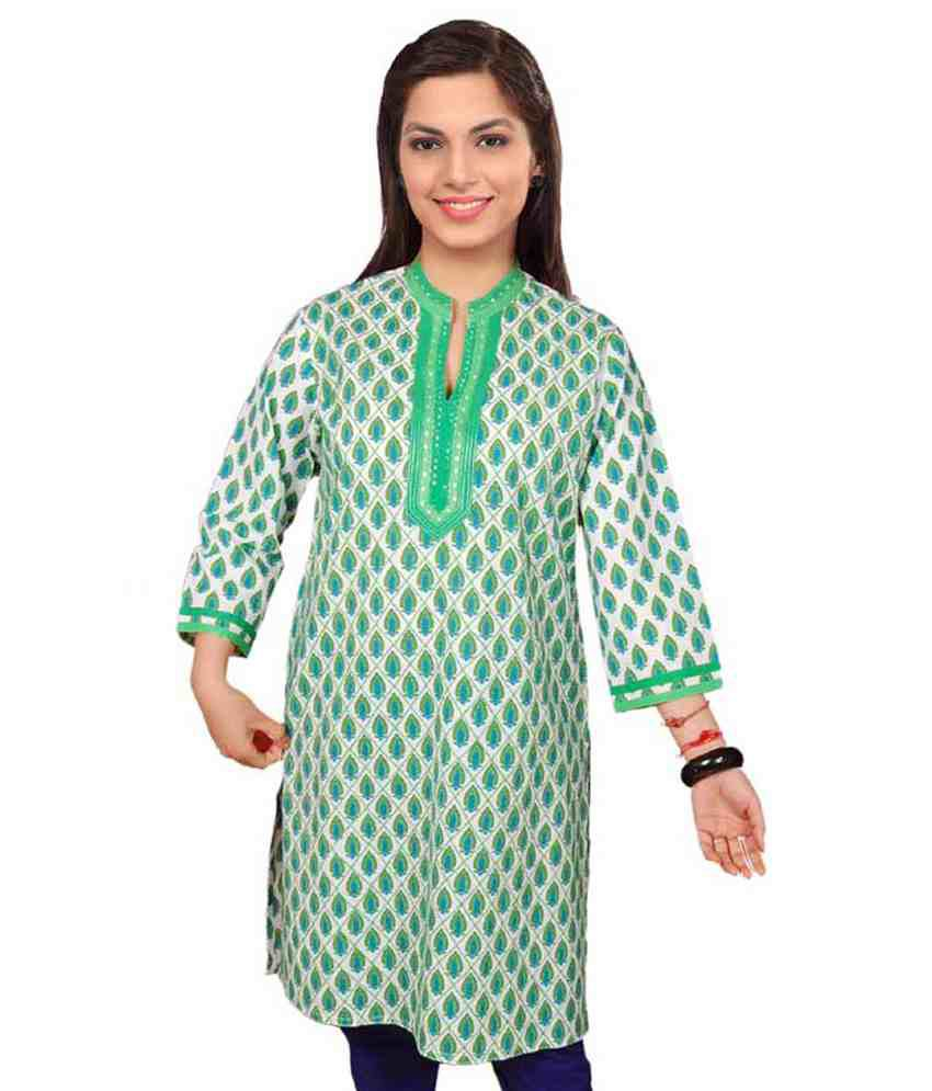 Dorabella Green Printed Cotton Kurti