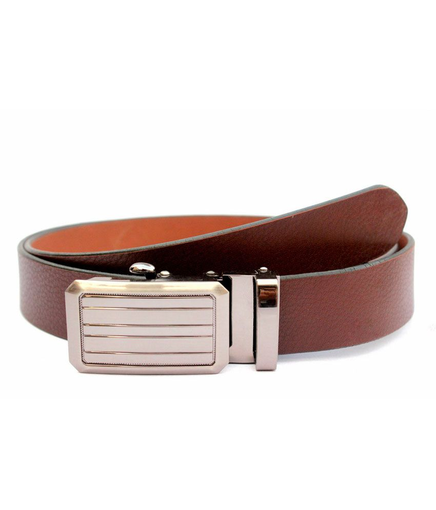 Tops Brown Leather Autolock Buckle Belt