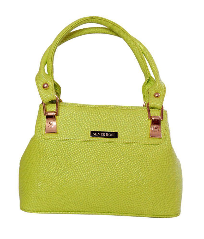 Womaniya Ethnic Green Zip Rose Collection Shoulder Bag