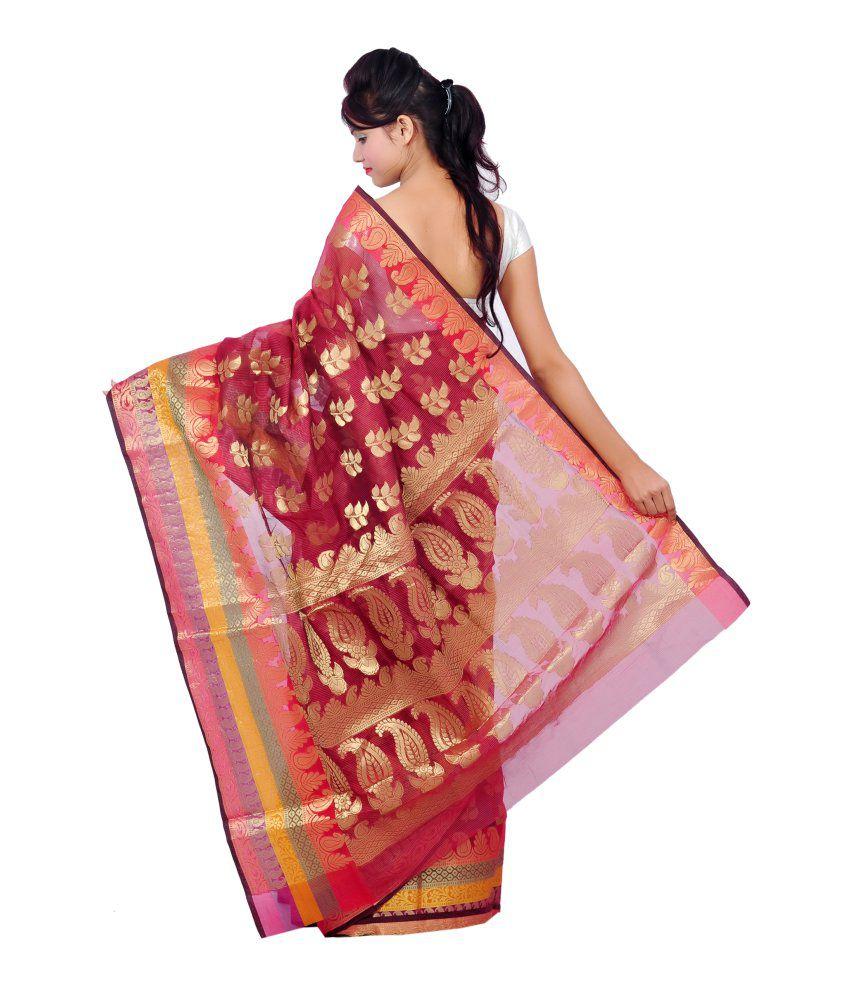 A1 Fashion Red Brocade Saree