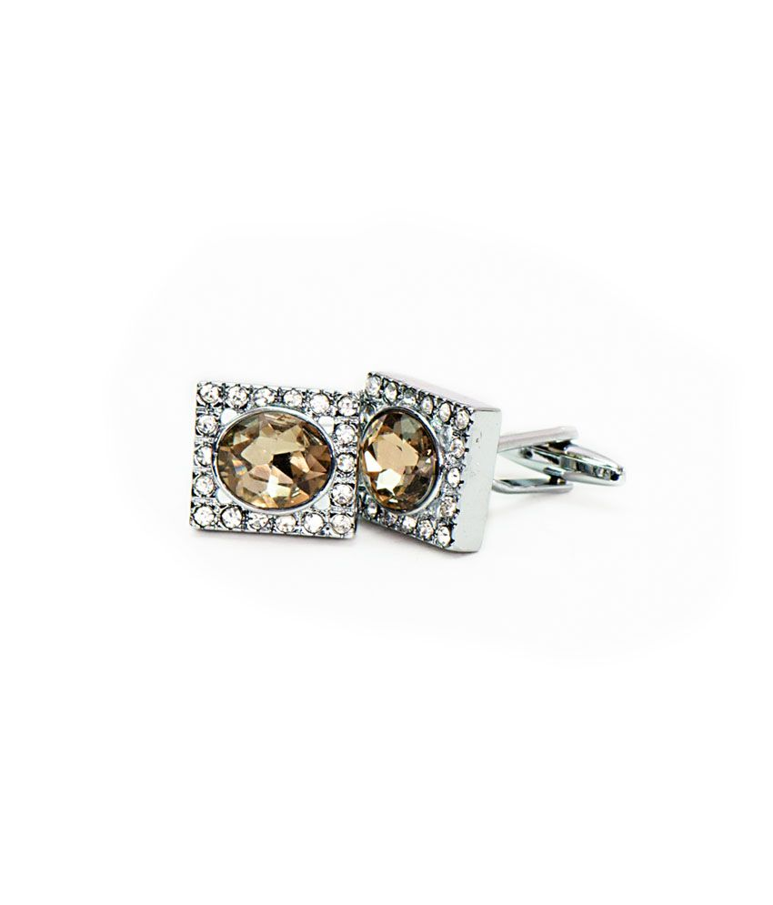 Vermello Brown Metal Stone Cufflinks