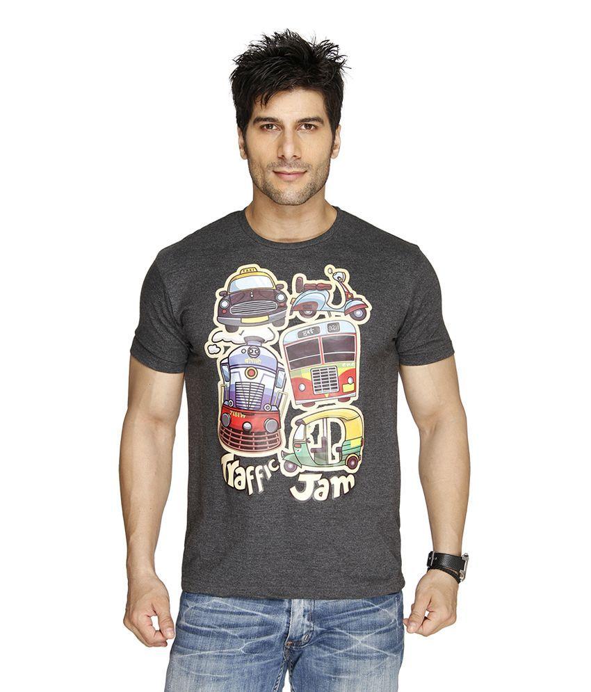 Imagica Gray Cotton Blend T-shirt