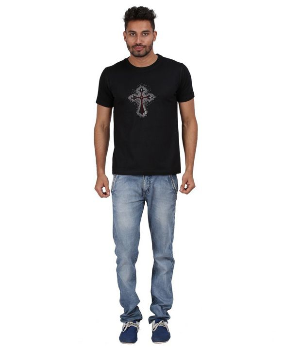 Xtees Black Printed Cotton Celtic Cross 2 Ornamental Rhinestone T-shirt