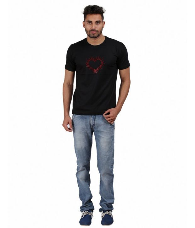 Xtees Black Printed Cotton Flame Heart Ornamental Rhinestone T-shirt