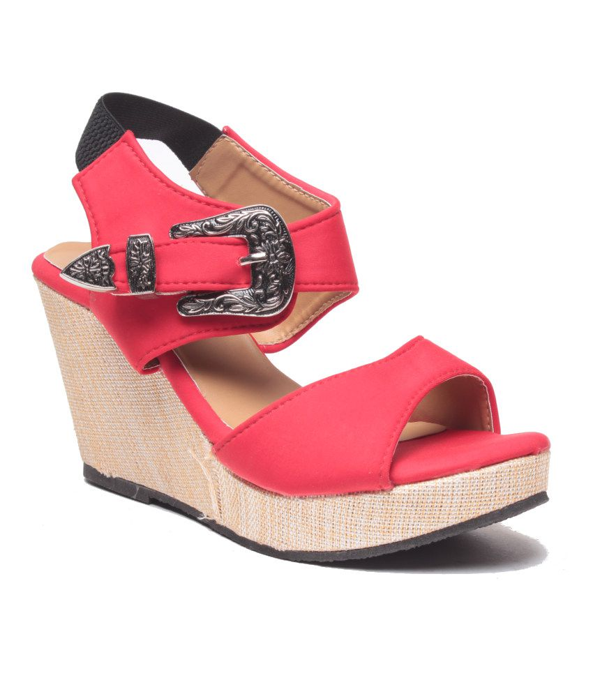 Anand Archies Red Wedges Sandals