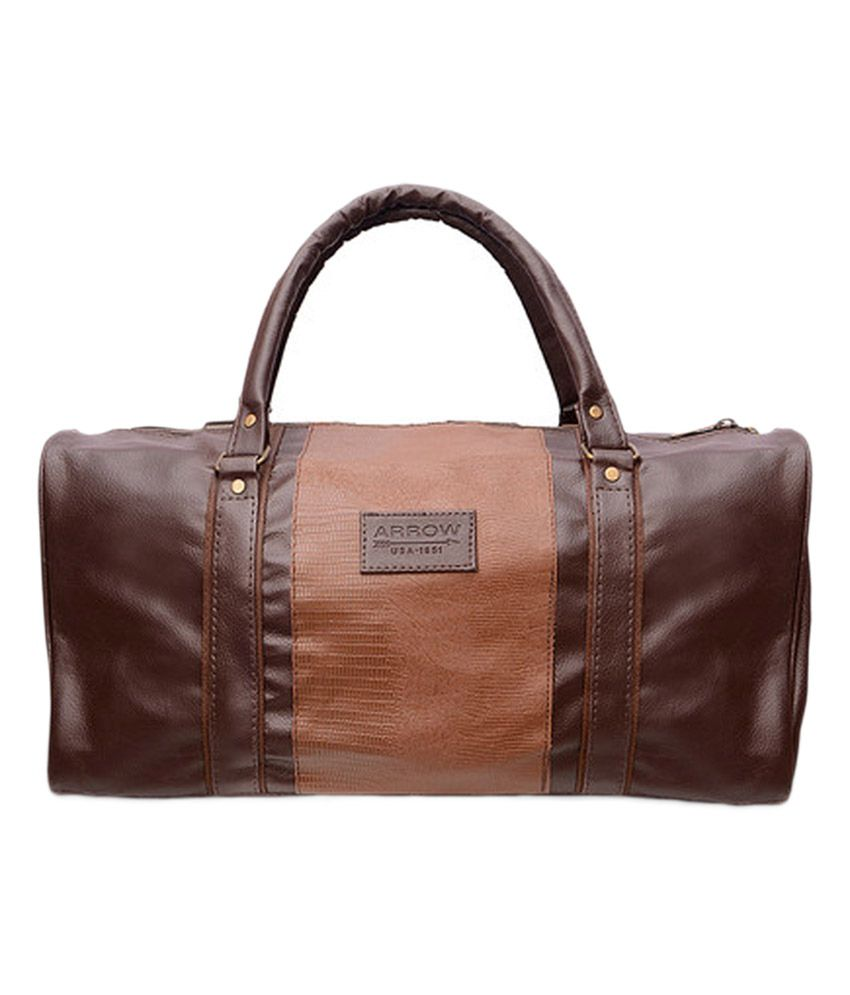 Arrow Brown Leather Travel Bag - Buy Arrow Brown Leather Travel ...