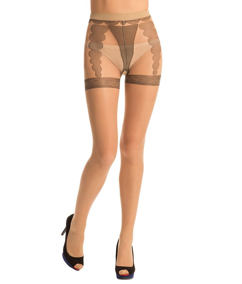 Buy prettysecrets beige stockings online at best prices in for Best place to buy stockings