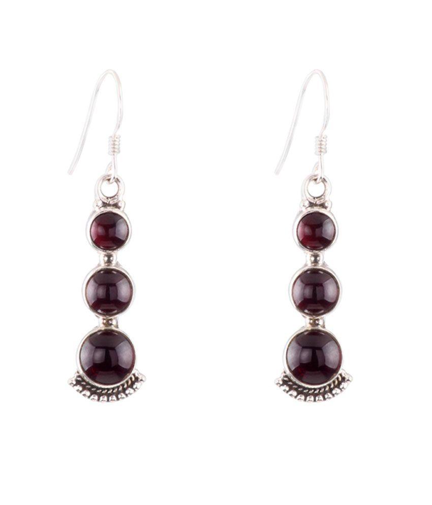 1976 Jewels Natural Rhodolite Garnet Sterling Silver Drop Earrings