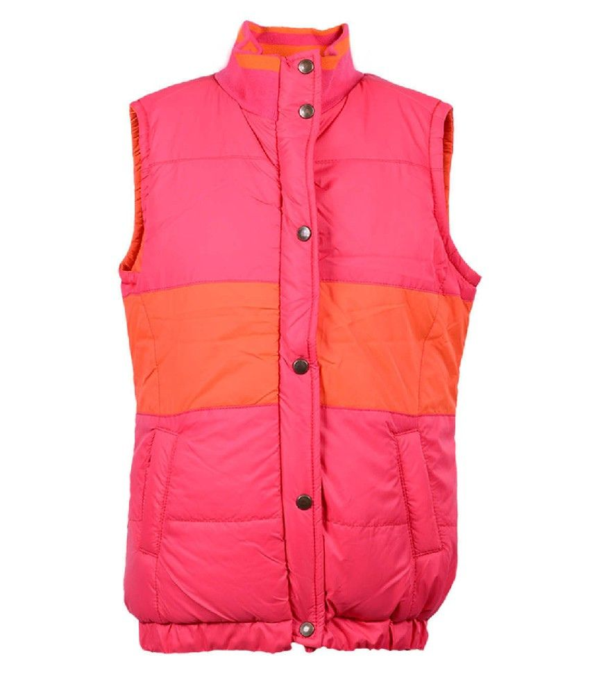 Ello Sleeveless Orange Color Without Hood Padded Jackets For Kids