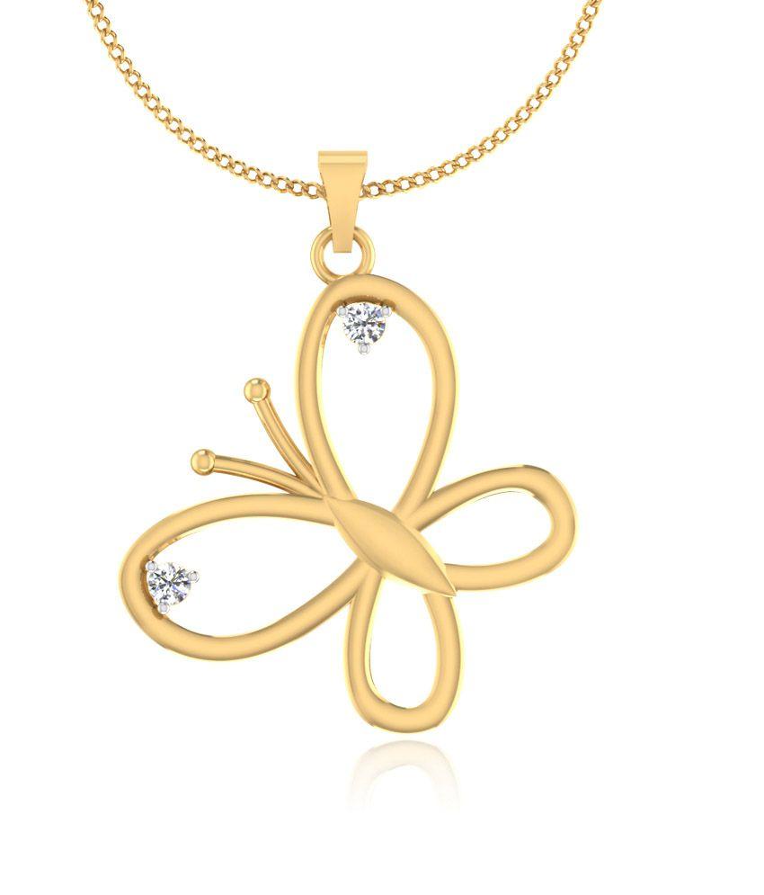 Iskiuski 14kt Gold Lambent Butterfly Pendant