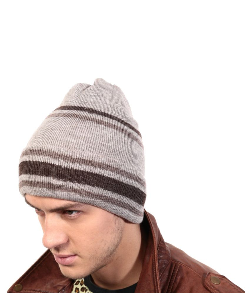 Lycans Awesome Grey And Brown Men Woolen Cap
