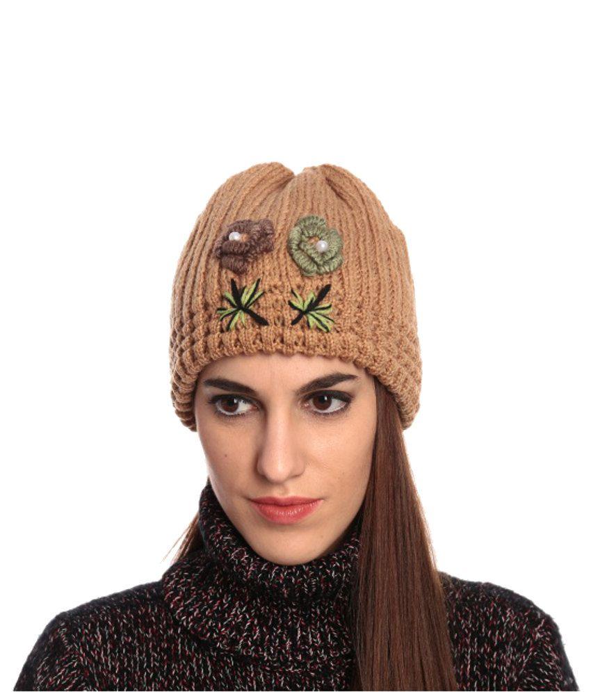 Lycans Brown And Green Women Woolen Cap