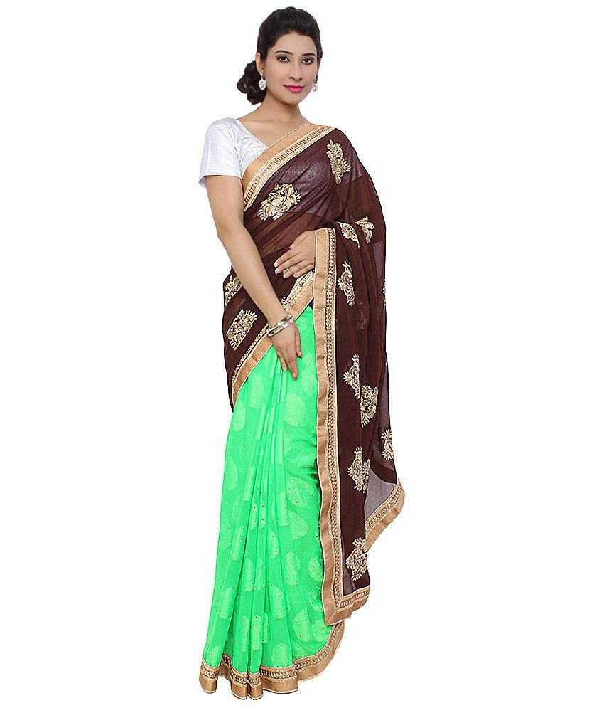 Saree Palace Brown Faux Georgette Saree