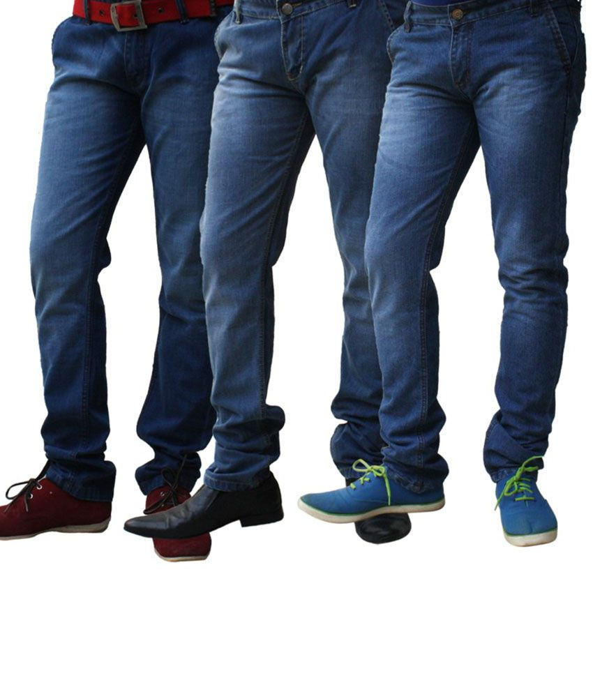 Ben Carter Blue Cotton Faded Jeans-pack Of 3
