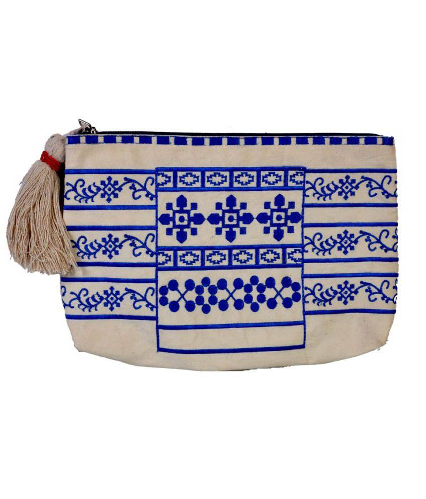 Diwaah Blue Embroiderd Pouch