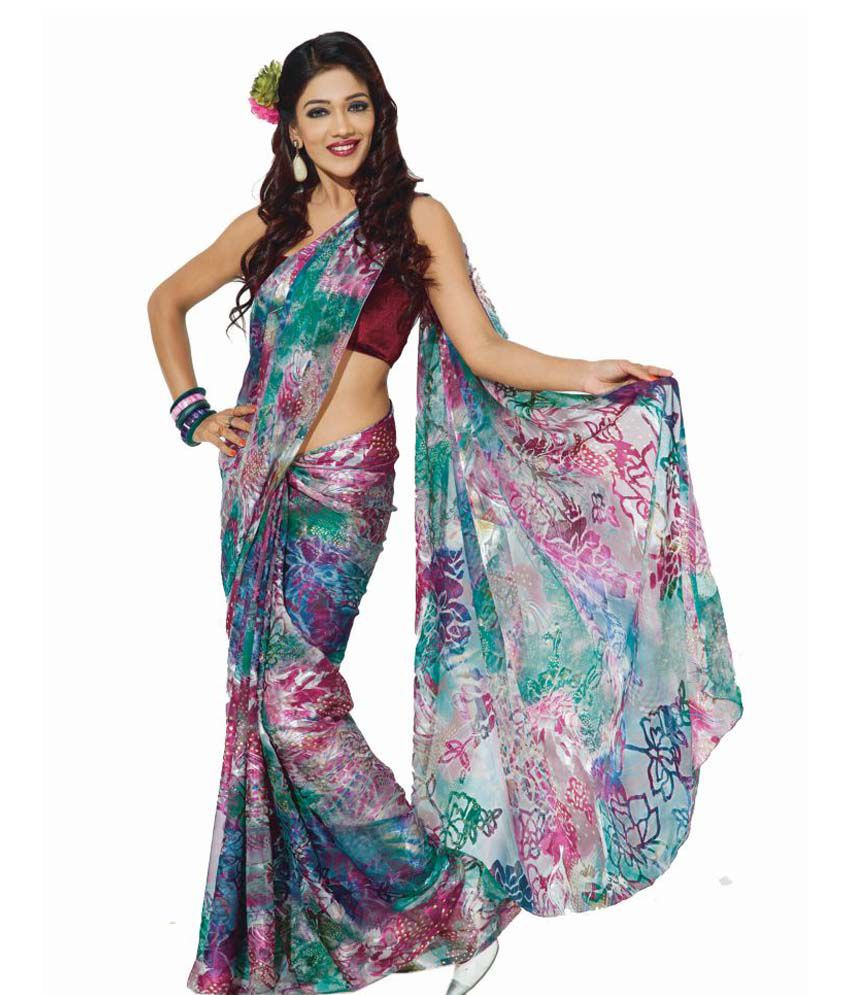 45119cae81 7% OFF on Gardenvareli Animal, Abstract Or Both? Floral Brasso Blue Printed  Saree on Snapdeal | PaisaWapas.com