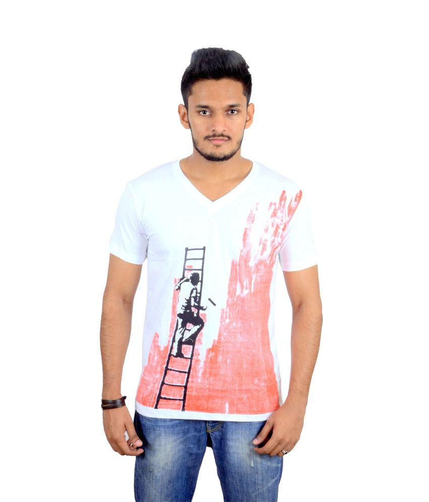 Rouge White Cotton Half Sleeves Printed T- Shirt