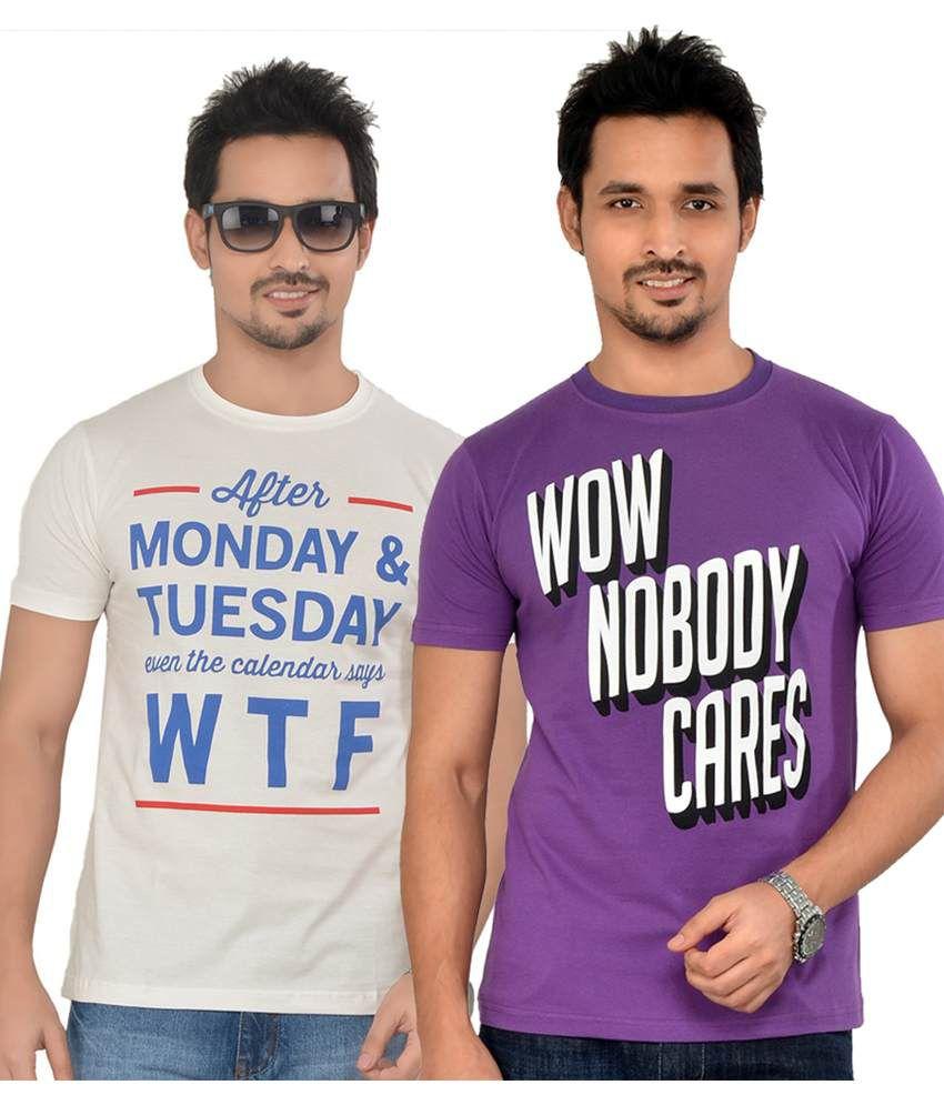 Tsg Escape Men's Printed Round Neck T-shirt-pack Of 2-c93-purple & Offwhite Colour