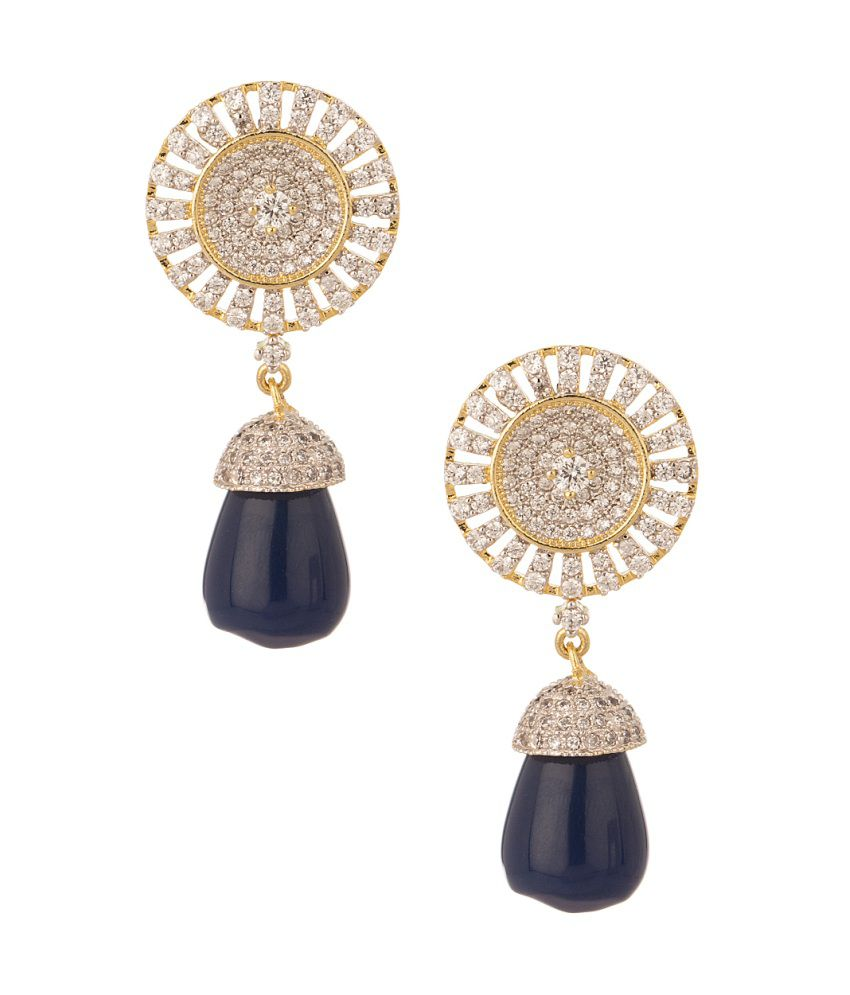 Voylla Gold Plated Pair Of Earrings Decorated With Shiny Cz Stones And Blue Faux Stone Drop