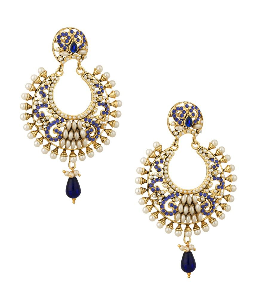 Voylla Pair Of Gold Plated Earrings With Blue Color Stones And Pearls