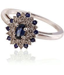 Ratnam Real Diamond White Gold Ring With Colourstone Sapphire For Women
