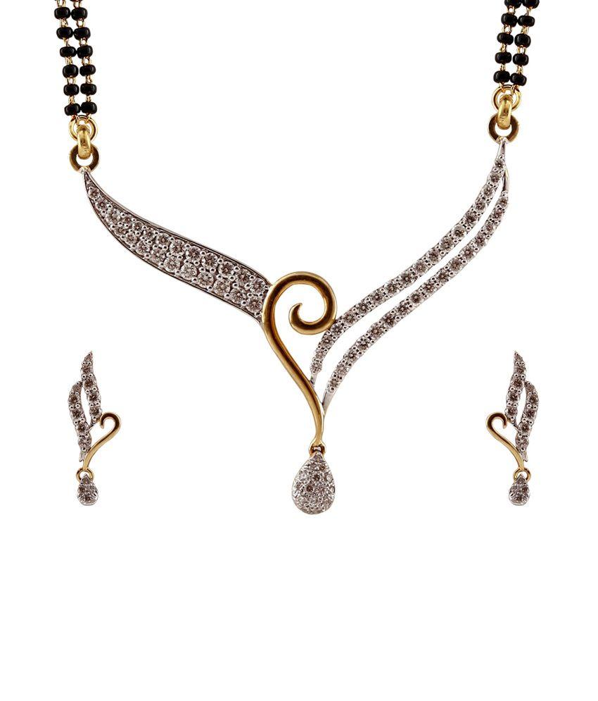 Ratnam Real Diamond Designer Mangalsutra Pendent Set