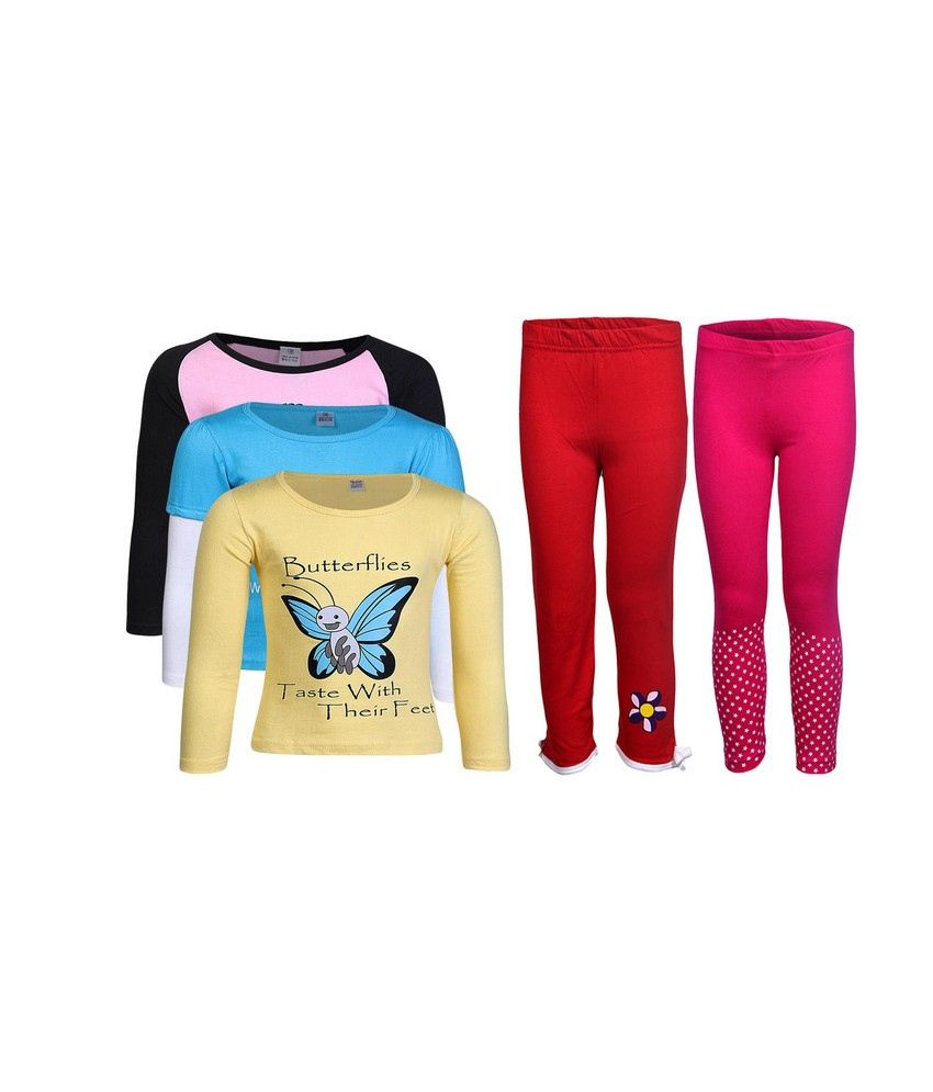 Goodway Pack of 5 -Girls Did You Know COL 3Pack Tee  &  Girls 2Pack Fashion Full Pant Combo Pack