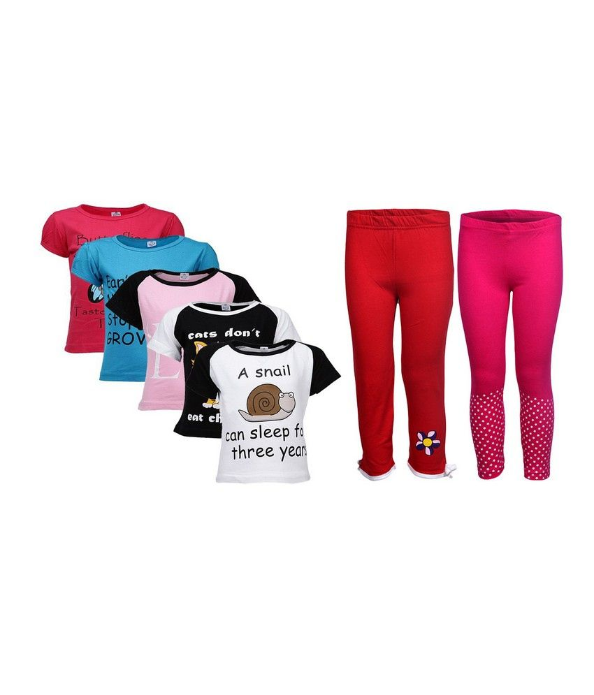 Goodway Pack of 7 Girls Did You Know 5Pack Tee  &  Girls 2Pack Fashion Full Pant Combo Pack