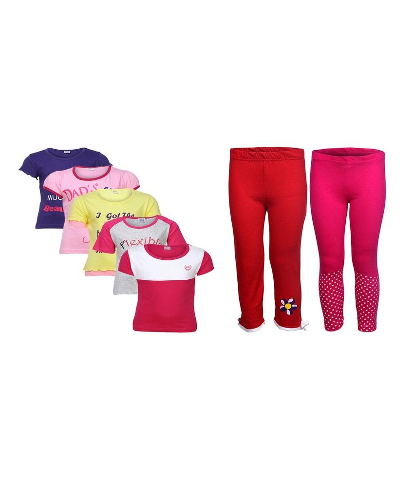 Goodway Pack of 7 Girls MND 5Pack Tee  &  Girls 2Pack Fashion Full Pant Combo Pack