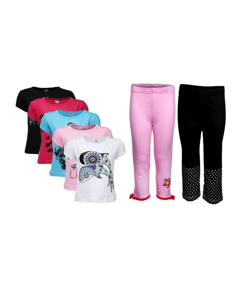 Goodway Pack of 7 Girls Attitude 5Pack Tee  &  Girls 2Pack Fashion Full Pant Combo Pack
