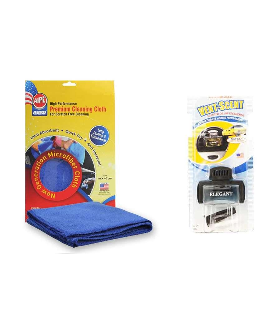Abro Vent Scent Car Perfume Vs-90 New Car (10 Ml)+microfiber Cloth Image