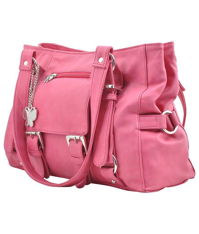 Butterflies Pink Faux Leather Satchel Bag - Buy Butterflies Pink ...