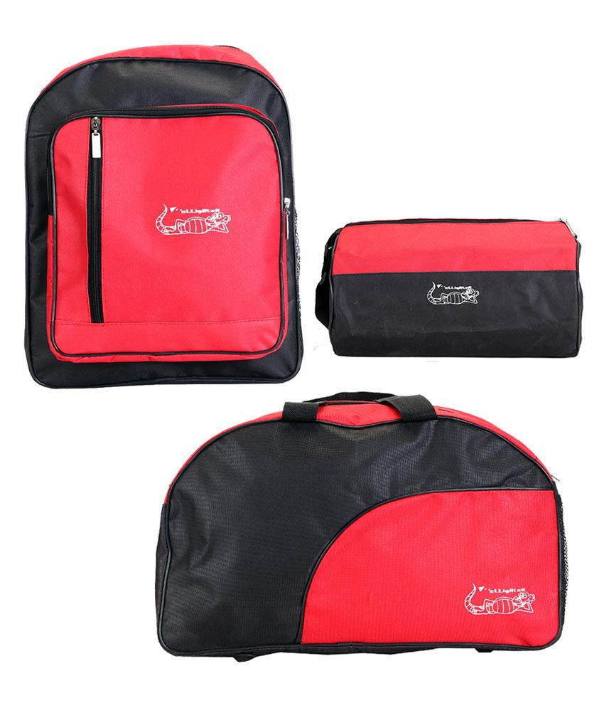 Elligator Black And Red Polyster , And School Combo gear Gym Bag