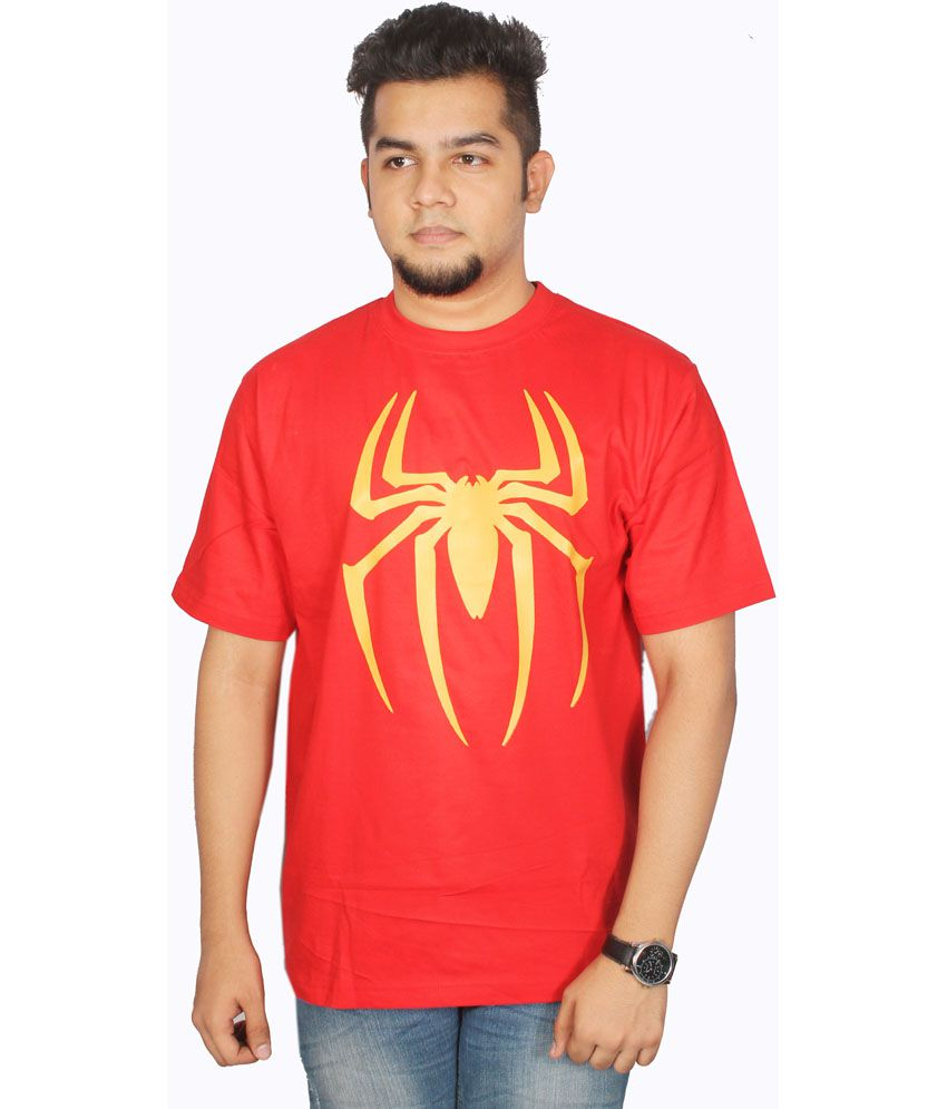 Leo Clothing Red Cotton Round Neck Spiderman Logo T-shirt
