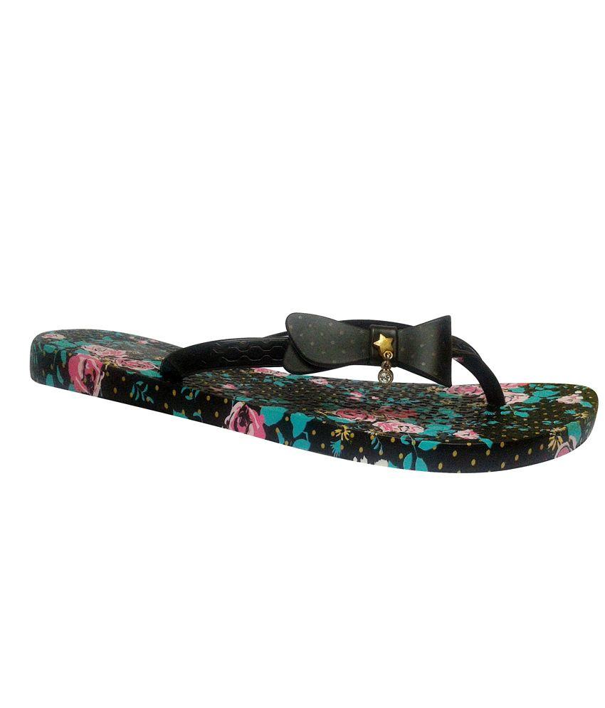 N N Enterprise Black Flat Slippers