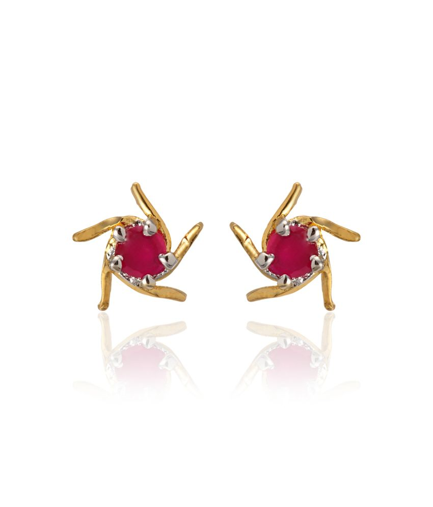 Zaveri Pearls Multicoloured Cz Stud Earring