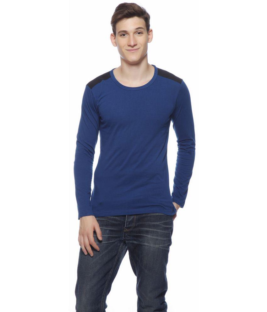 Gritstones Blue Cotton Full T-shirt
