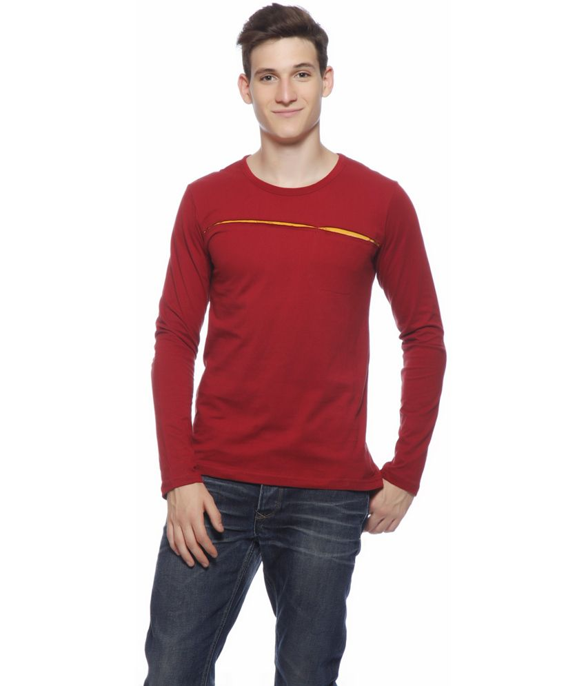Gritstones Maroon Cotton Full T-shirt