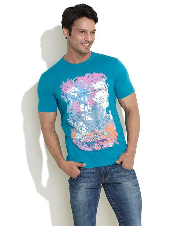 Indigo Nation Teal Abstract Print Cotton Tee