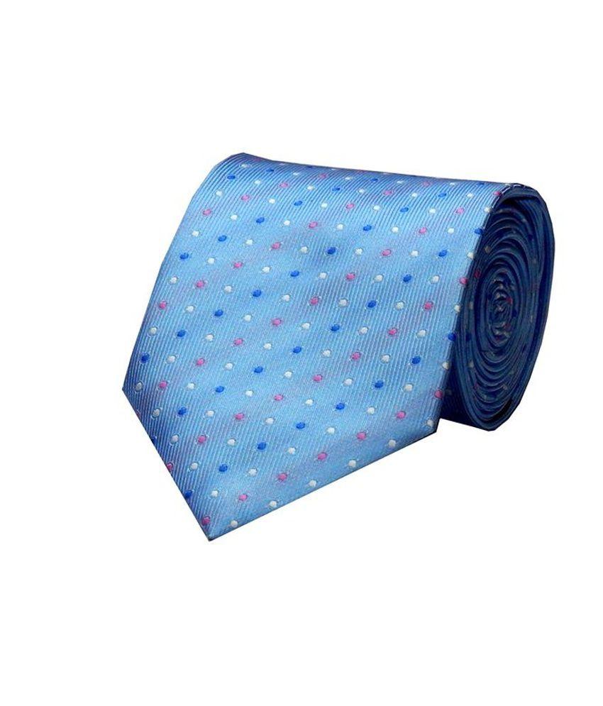 Navaksha Light Blue Micro Fibre Formal Broad Tie