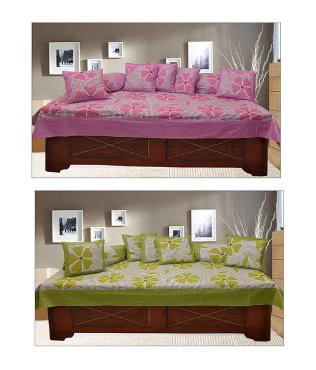 Optimistic Home Furnishing 100% Cotton Floral Diwan Set (Buy 1,Get 1)