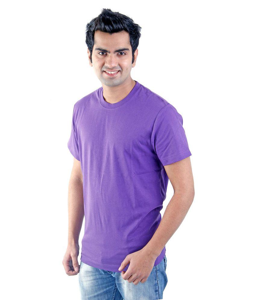 Firstimage Blue Cotton Blend Round Neck Half Sleeves T-shirt