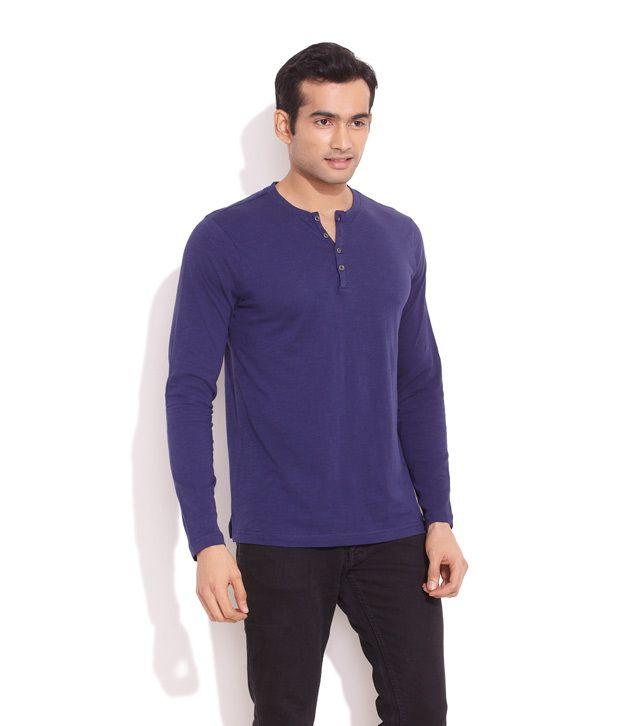 Freecultr Dark Blue Laid Back Henley Shirt